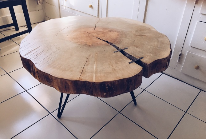 Live Edge Maple Cookie Slab Coffee Table Ambrose Woodworks
