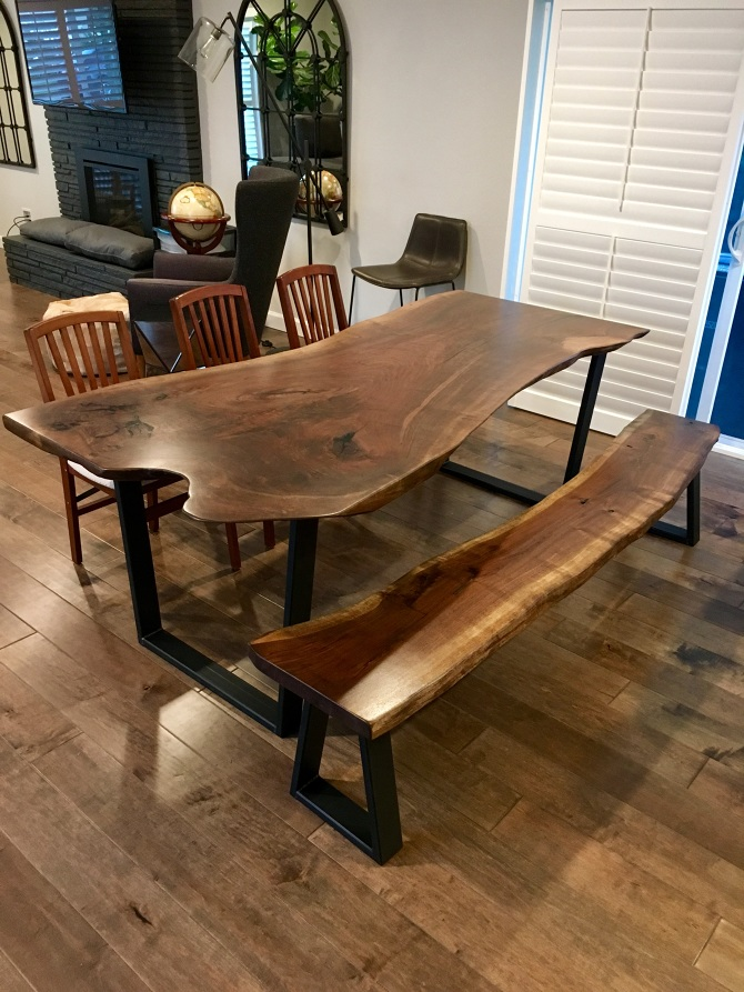 Astounding Live Edge Black Walnut Slab Dining Table Bench Ambrose Download Free Architecture Designs Sospemadebymaigaardcom