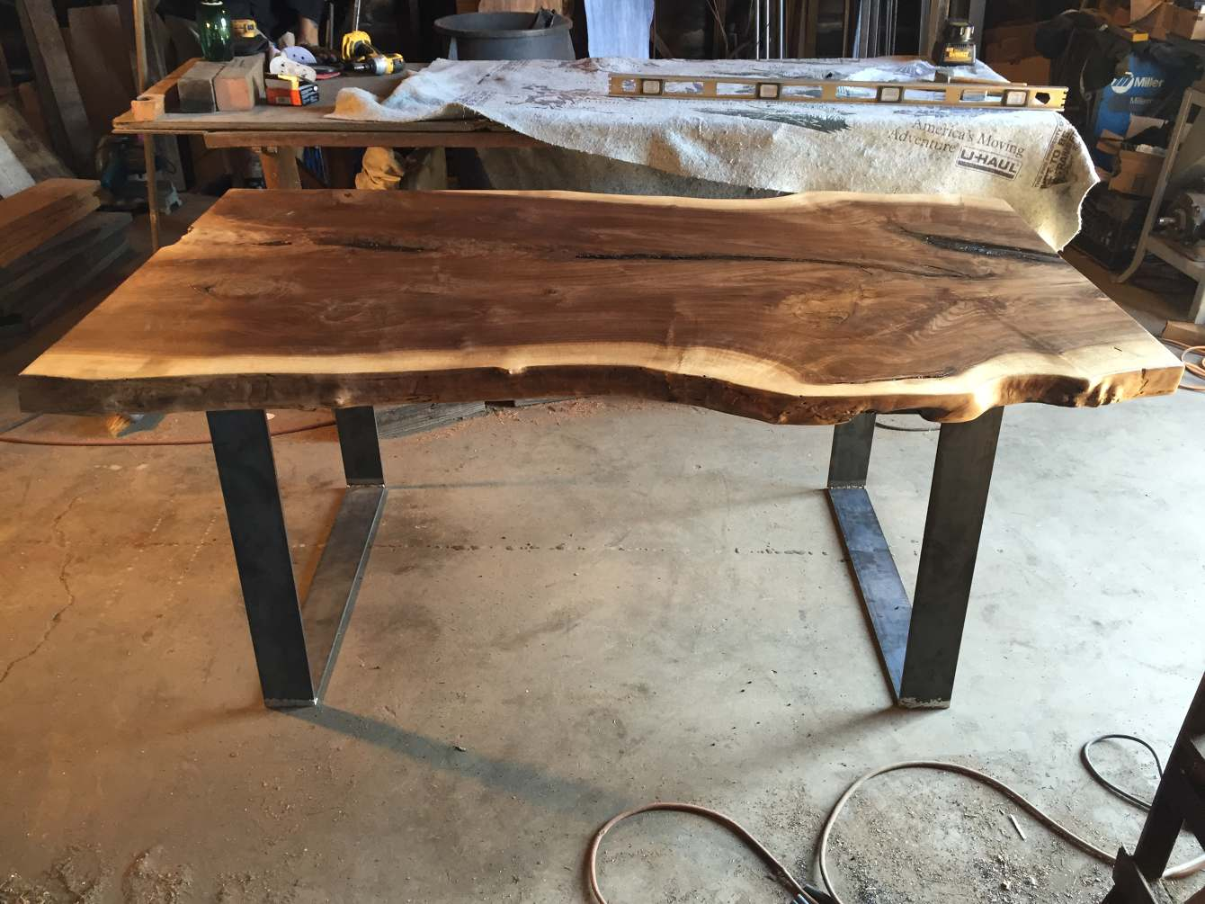 Picture of: Live Edge Black Walnut Slab Dining Table Ambrose Woodworks