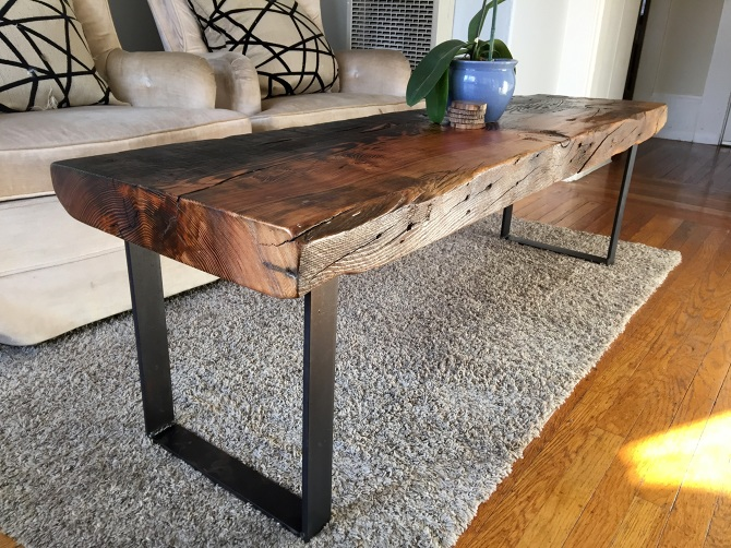 Torched Old-Growth Douglas Fir Bench // Coffee Table