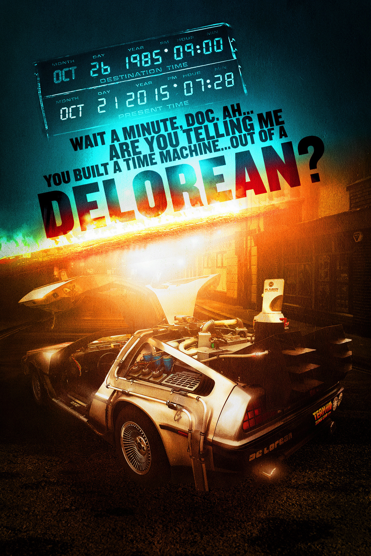 af9816c69b88a In celebration of Back to the Future Day 2015. I wanted to give the  Delorean a modern day action poster feel while keeping the nostalgia built  in.